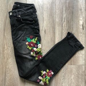 Black jeans with floral design from Zara